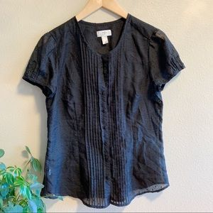 LOFT • Black Sheer Button Up Short Sleeve Blouse